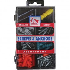 HBC Mh807 100-pc Metal Screw & Anchor Assortment