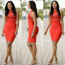 SHORT RED PARTY GOWN