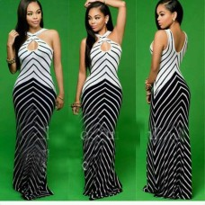 LONG GOWN  BLACK WHITE STRIPS