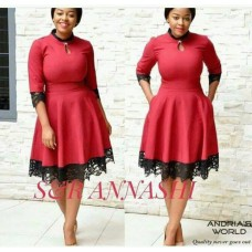 short gown evasee red black