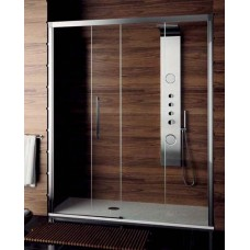 Front shower wall fixed door and sliding door