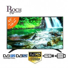 Roch Slim TV LED 43 Built in Decoder  FHD  HDMI  USB  VGA  TNT  Black