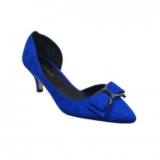 Blue Suede Fashion Pumps With Bow Stilettos High Heels Shoes Women shoe size 40