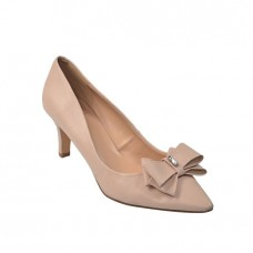 Heel pumps leather look with beige shoe size 40