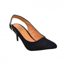 Pointed shoes in black suede with heels and back shoe size-37-38-39-40-41