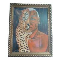 Peinture Africaine -Moitie leopard Moitie homme-| Livraison Gratuite aux USA