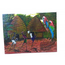 Peinture Africaine  Village africain