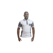 Men's white African Polo Shirt