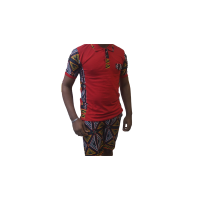 Combinaison polo solide africaine (rouge)