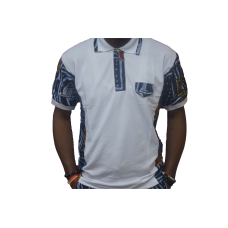 Men White Custom Fit African Polo Shirt