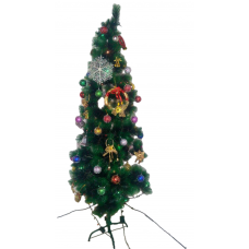 Sapin de Noel avec decoration pommes de pins et neige artificielle