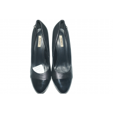 black lady heeled shoe with end black waxed  size: 40