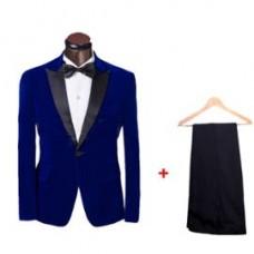 Veste-Costume bleu-rouge Smooking-demi-saison 2 pieces avec Chemise et noeud