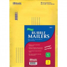 "Bazic 8.5"" X 11.25"" (#2) Self-Seal Bubble Mailers - 3/Pack"