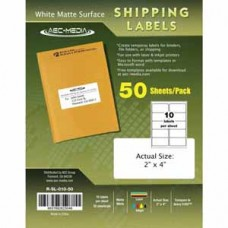 AEC 2 x 4 White Matte Surface Shipping Labels - 50 Sheets Per Pack