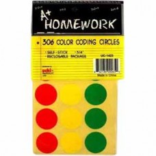Homework 3/4 Color Coding Round Labels - 306 Per Pack