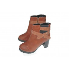 Brown boot in leather for lady - size: 39